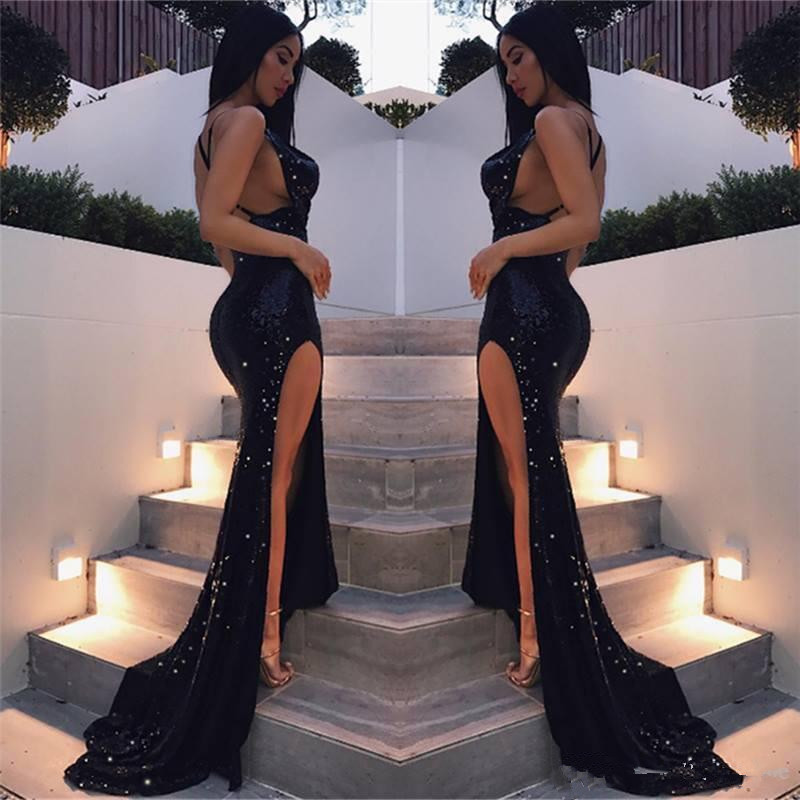 74-1   Backless 2019 Prom Dresses Mermaid Spaghetti Straps Sequins Slit Sexy Party Long Prom Gown Evening Dresses Robe De Soiree