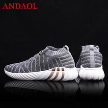ANDAOL Men's Casual Shoes Top Quality Striped Flyknit Breathable Light Sneakers Luxury Lace-Up  Marvel Non-Slip Campus Trainers недорого