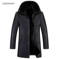 2017 Winter Leather Jacket Men Long Trench Coats New Fashion Fur Collar Single Breasted Men Leather jackets Windproof Coats 5XL