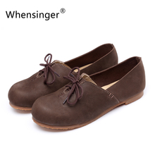 Whensinger 2016 Spring Brand Lace-UP Women Flat Shoes Genuine Leather 2 Color Round Toe Size 5-9 Rubber Sole 998-3