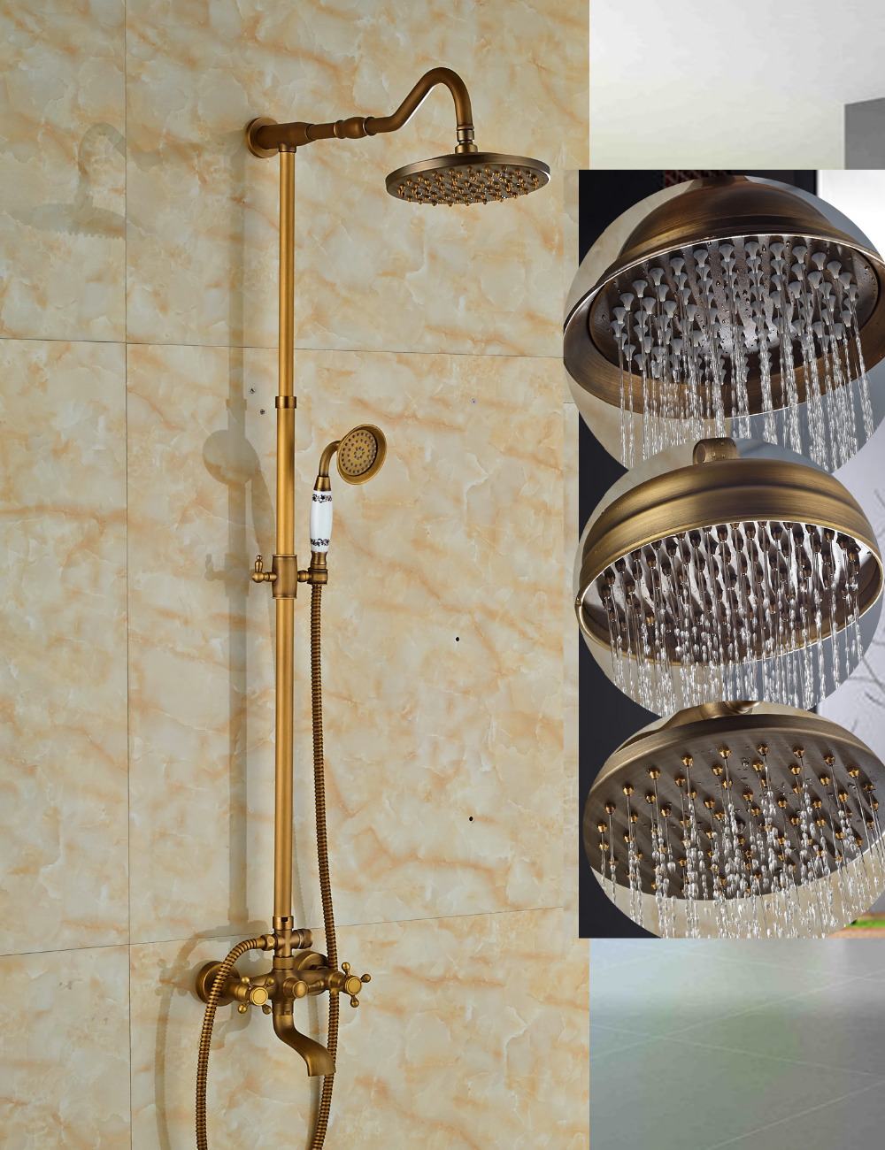 Wholesale And Retail Antique Brass Rain Shower Faucet Wall Mounted 8 Sprayer Tub Spout Dual Cross Handles