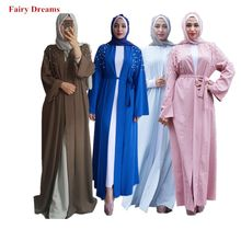 Abayas For Women Dubai Coat Black Blue Pink Red Muslim Caftan Long Bandage Cardigan Pearls Beaded Bolero Islamic Clothing 2019(China)