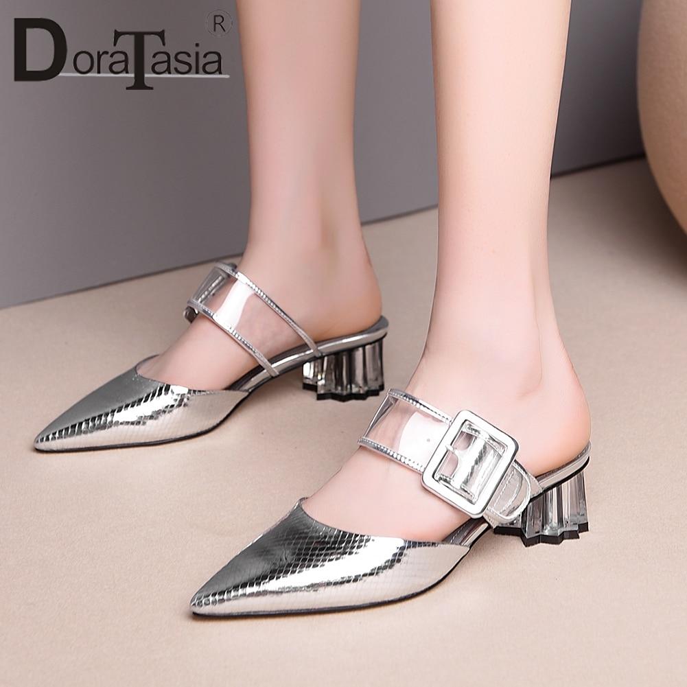 DORATASIA nouvelle mode bout pointu pantoufles femme été chaussures en cuir véritable Mules femmes chaussures femme grande taille 33-43
