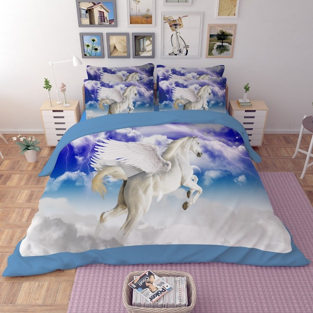 Free Shipping 3d Animal Horse/unicorn/pegasus Bedding Set 3/4pcs Twin/