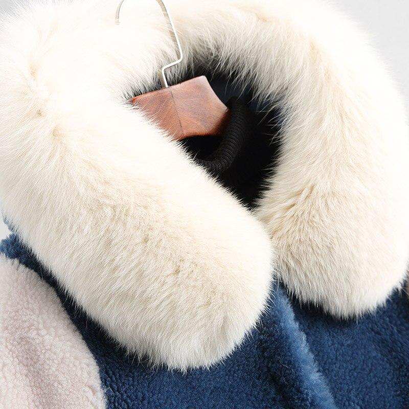 Kapuze Fox Pelzmantel Schaf Wolle Mit Warme Echte Damen Ayunsue Winterjacken 2018 M Kragen Lammfell ntel Wyq2115 18203 Blau Dicke 2EH9YIbeDW