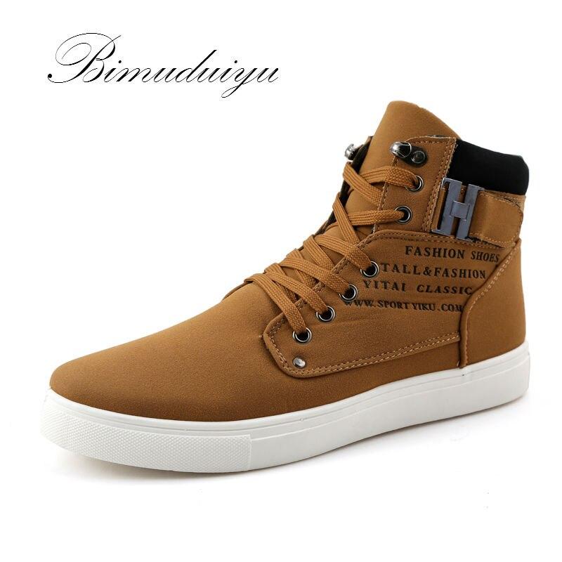 BIMUDUIYU Fashion Autumn Winter Leather Fur Boots For Man Casual High Top Canvas Men Flat Men Casual Shoes High Cut  Sale