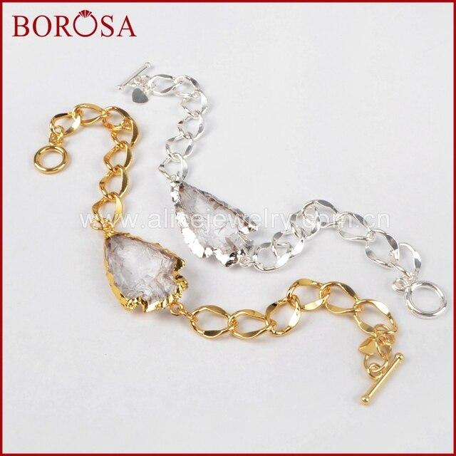 Borosa Druzy White Quartz Bracelet For Women Arrowhead Gold Silver Color Natural Stone