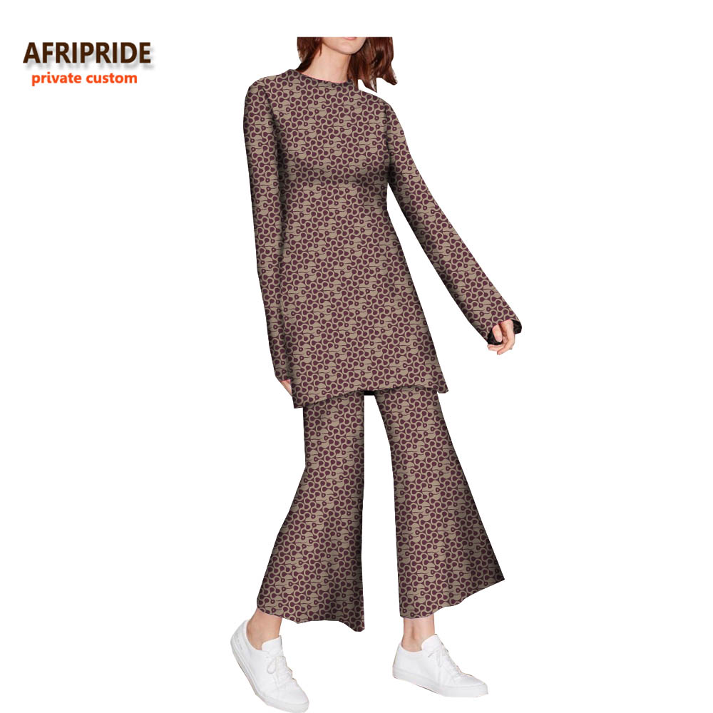 136a95ab6c9 2018 autumn suit for women african print AFRIPRIDE full sleeve o-neck long  top+ankle-length flare pants women casual suitA722671