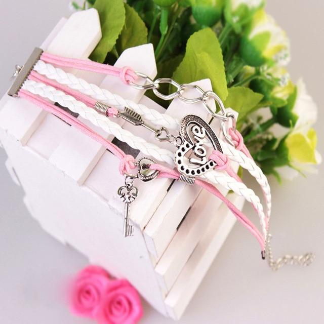 FAMSHIN New Handmade Bracelet Lock key Cupid's Arrow Charms Infinity Bracelet White Pink Leather Bracelet Women Best Couple Gift 2