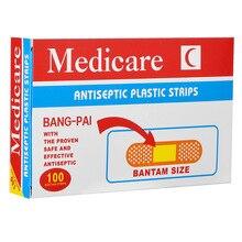 Tirita adhesiva no tejida antibacterias para uso médico, vendajes adhesivos para viajes en casa, suministros de botiquín de primeros auxilios, paquete de 100 unidades