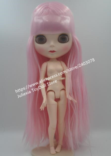 Blygirl doll, matte face of joined body doll, pink long straight hair, B3