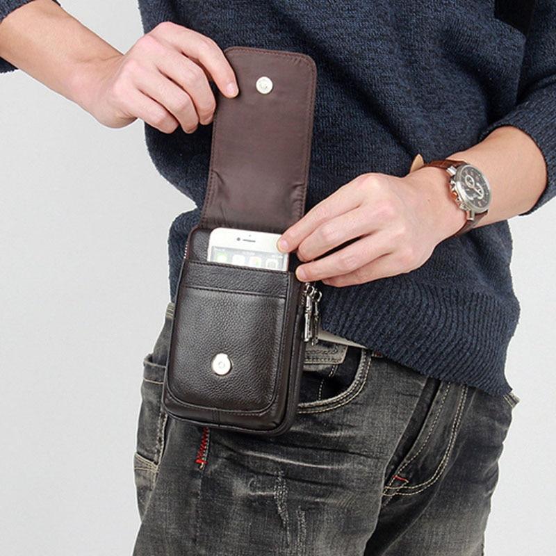 Men Leather Fanny Waist Bag Cell/Mobile Phone Coin Purse Pocket Belt Bum Pouch Pack Vintage Hip Bag High Quality 4