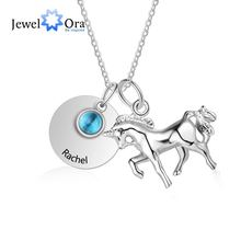 Customized Birthstone Round Metal & Horse Pendant Necklace Personalized Engraved Custom Name Jewelry Gift (JewelOra NE103215)