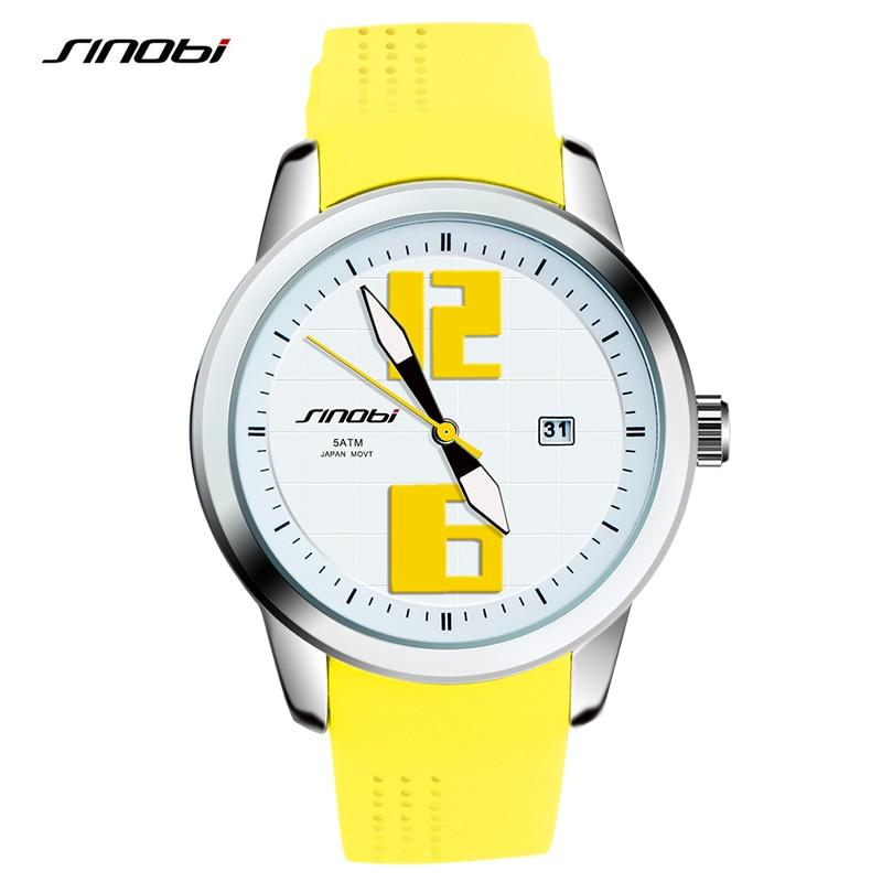 SINOBI Fashion Women Wrist Watches Luxury Brand Rubber Watchband Females Quartz Clock Ladies Wristwatch Montres Femmes 2017 F84
