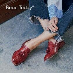 Женские лоферы BeauToday, из натуральной воловьей кожи аллигатора, с кисточками, без шнуровки, под платье, с квадратным носком, на плоской подошв...