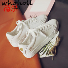 WHOHOLL New Spring Autumn With White Shoes Women Flat Leather PU Female Board Casual