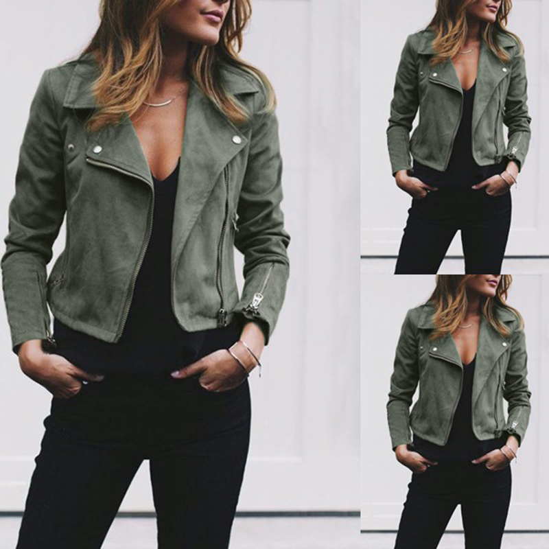 Women Fashion Jacket Coats Zip Up Biker Flight Casual Tops Coat Outwear Autumn Turn-down Collar Ladies Slim Fit Jackets 4