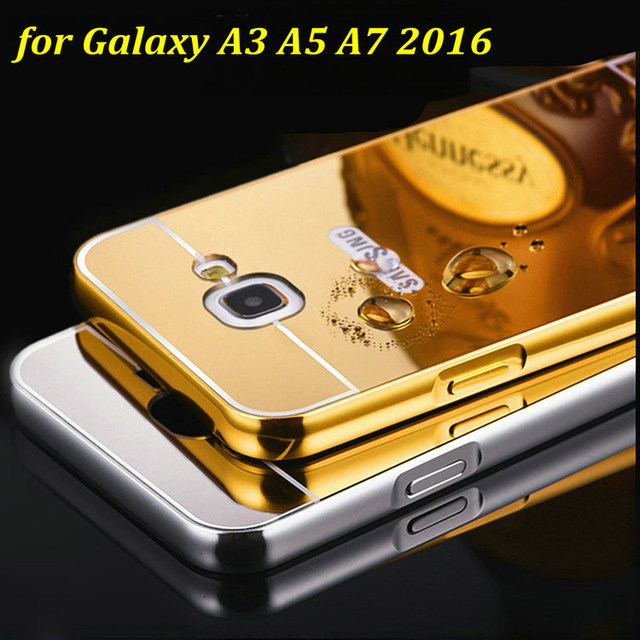 best service 44a95 1b8b6 US $3.59 |New Mirror Back Cover Case Aluminum Metal Frame Set Hot Phone  Cases Housing For Samsung Galaxy A3 A5 A7 2016 A3100 A5100 A7100 on ...