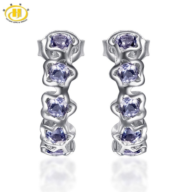 Hutang Natural Gemstone Tanzanite Stud Earrings Solid 925 Sterling Silver Fine Jewelry For Women's Gift 2017 NEW 62Z8kOM1