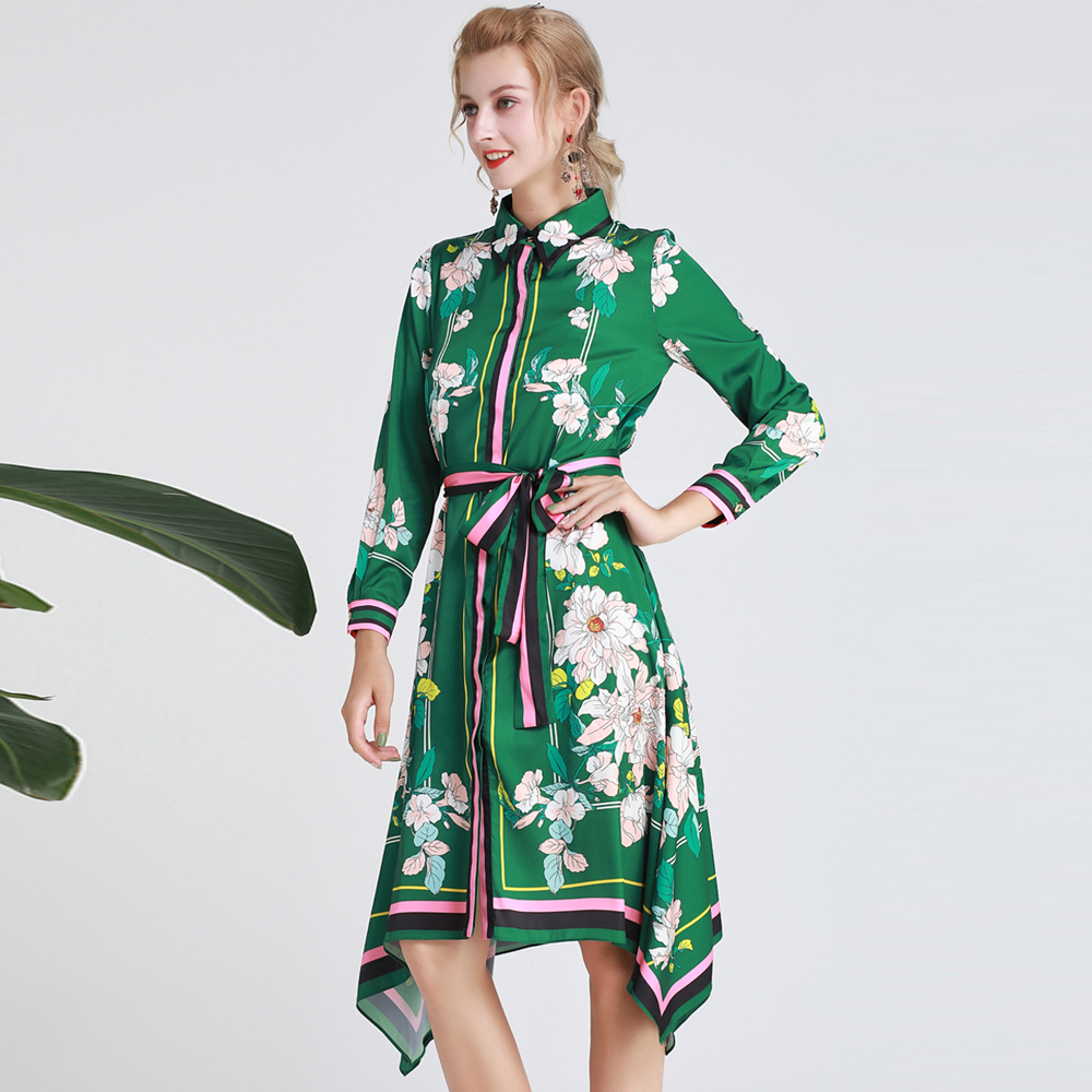Red RoosaRosee Fashion Runway Women Autumn Dress Green Flower Print Long Sleeve Elegant Party Dresses Lady