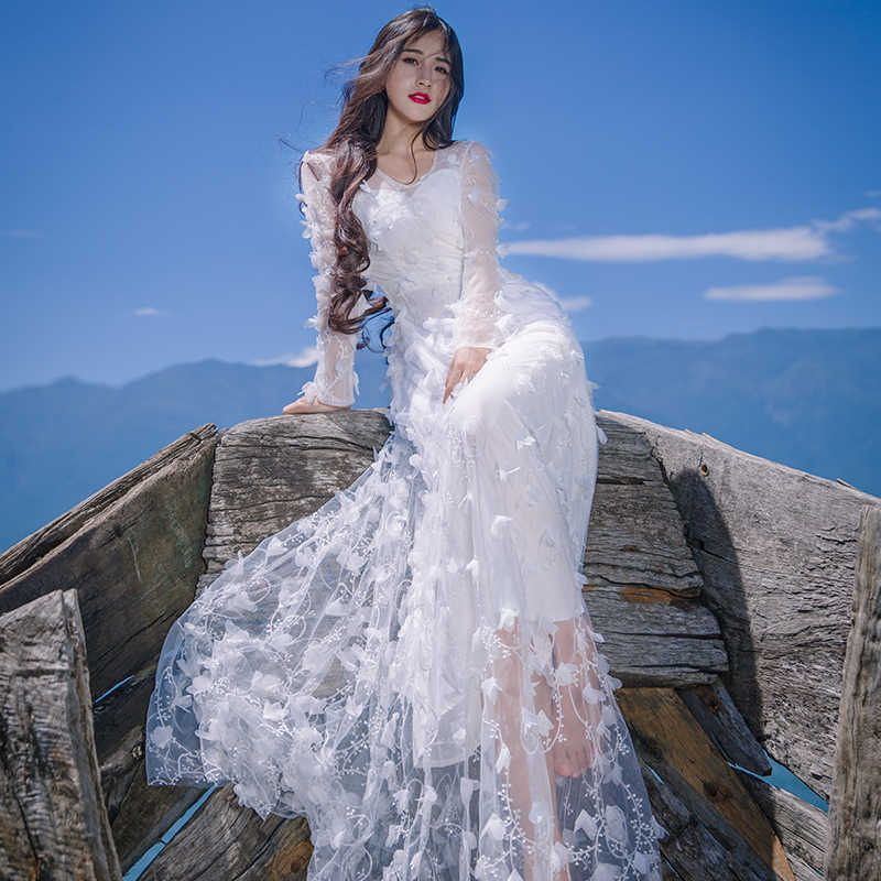 a3b70ff1550d New 2019 Spring Summer Women Casual Beach Long Maxi Dress Red White Lace Dress  Sexy V