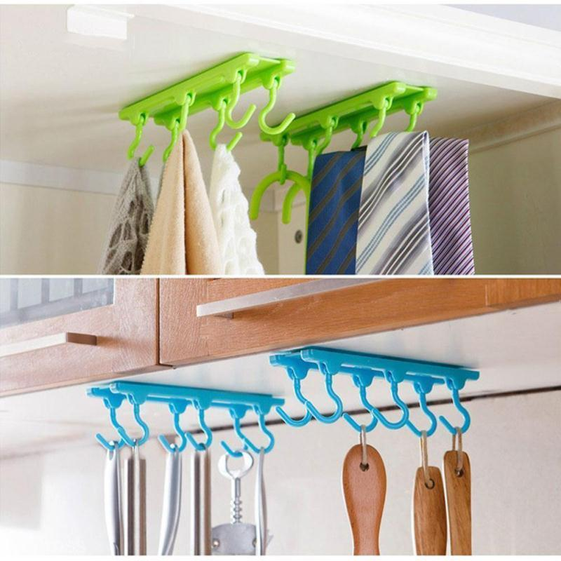 Kitchen Cabinets That Hang From The Ceiling: New Kitchen Utensils Rack With 6 Hooks Holder Ceiling Wall