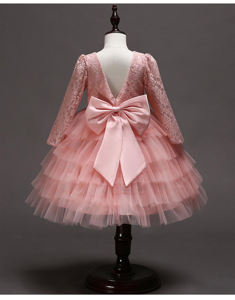 831ec92b5 Fancy Kids Tulle Cake Autumn Dress for Girls Lace Backless Gowns ...