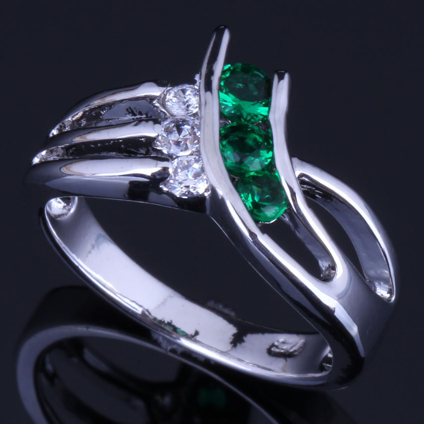 Good-Looking Green Cubic Zirconia White CZ 925 Sterling Silver Ring For Women V0683