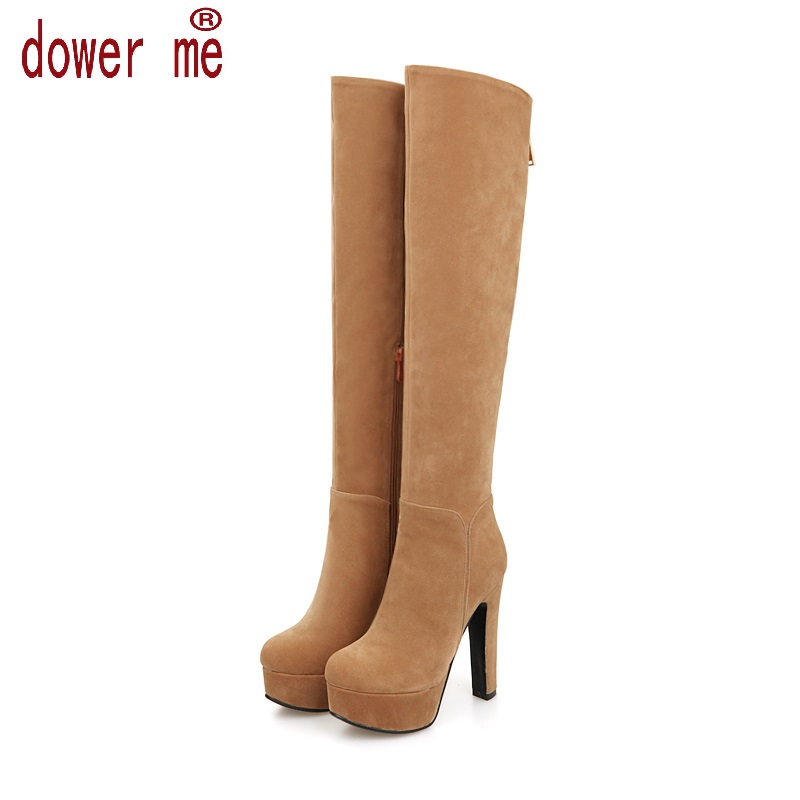 New Women Suede Sexy Fashion Over the Knee Boots Sexy Zipper Thin High Heel Boots Platform Woman Shoes Black Blue size 34-43 new 2014 flock suede high heel women boots brand over knee high heel boots for women fashion designer women shoes
