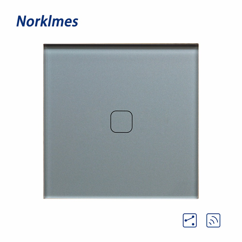 2018 Push Button Norklmes Eu Crystal Glass Panel ,light Wall Touch Screen Switch 1 Gang 2 Way Switc Ncs-112r/113r/114r/115r