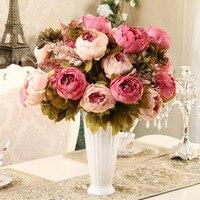 13หัวประดิษฐ์ปลอมดอกไม้ดอกโบตั๋นวินเทจสีผ้าไหมดอกไม้ดอกโบตั๋นดอกไม้ประดิษฐ์สำหรับตกแต่...