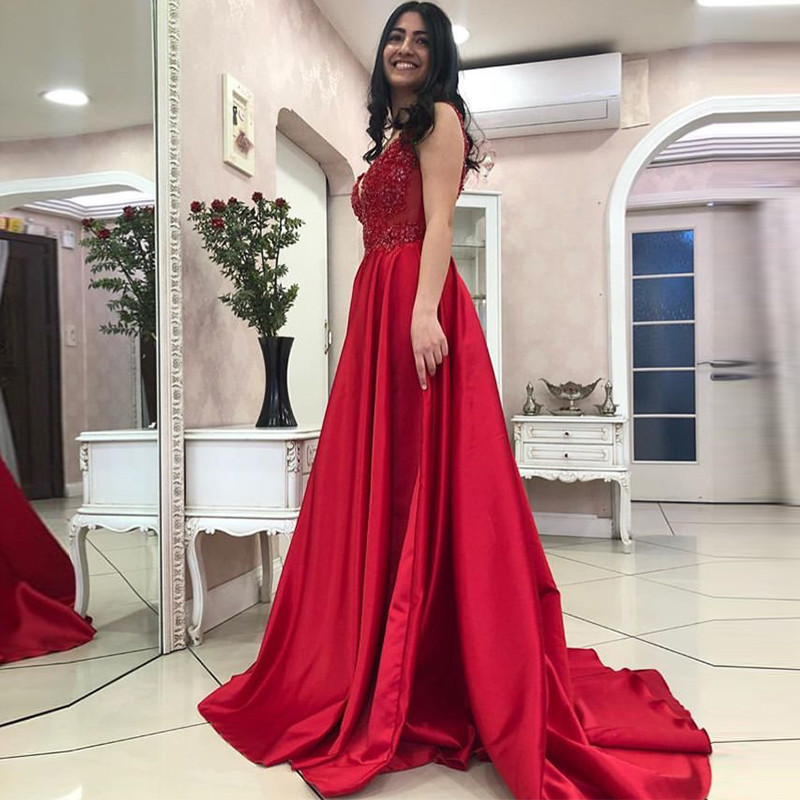 Gorgeous Red A Line   Prom     Dresses   For Women 2019 Beading Long Sweep Train Deep V Neck Backless Evening   Dress   Pageant Formal Gown