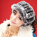 Nice quality real rex rabbit fur hand knitting fluffy soft warm peaked cap hat fashion lovely warm winter hat
