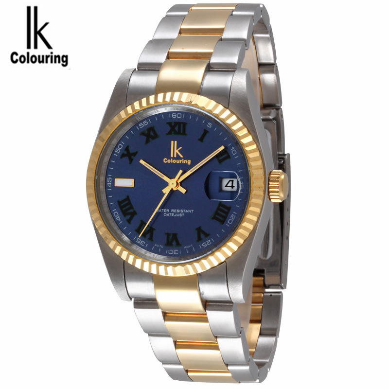 Ik Colouring Mens Watches Luxury Top Brand Automatic Mechanical Men Wrist watch Fashion Full Steel Men's Clock Dress Wristwatch ik colouring gold skeleton mechanical hand wind watches men luxury brand business dress silver steel watch male clock relogio