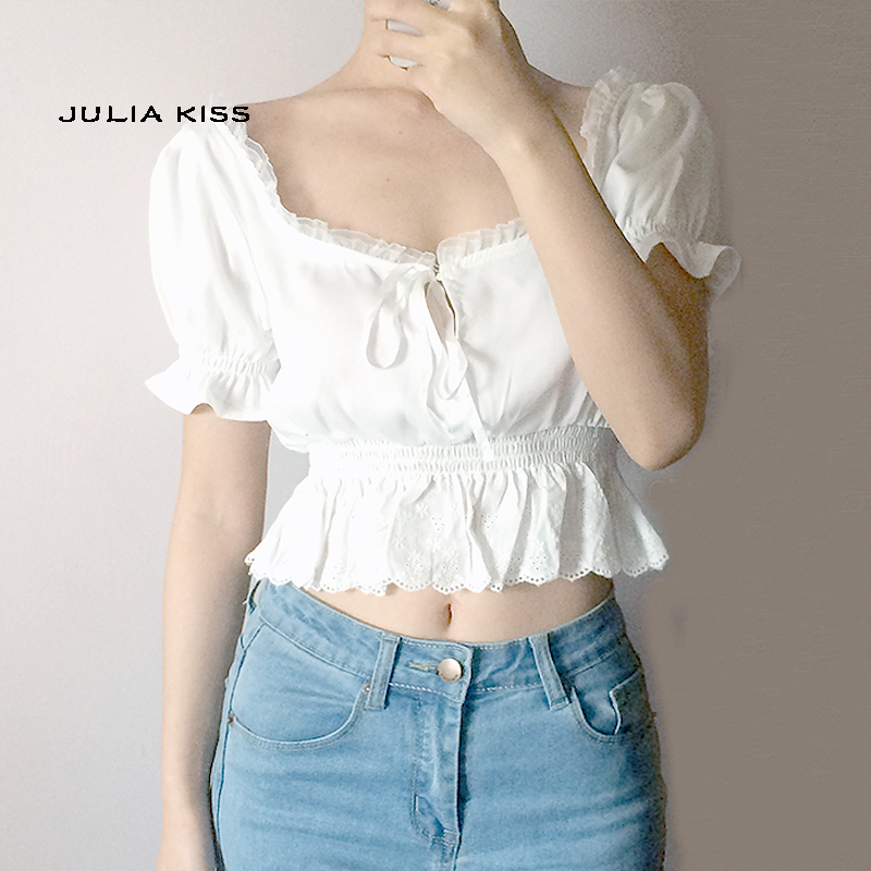 831f5d1927629c Women Square Neck Chiffon Crop Top Spliced Lace Hem with Puff Sleeve ...