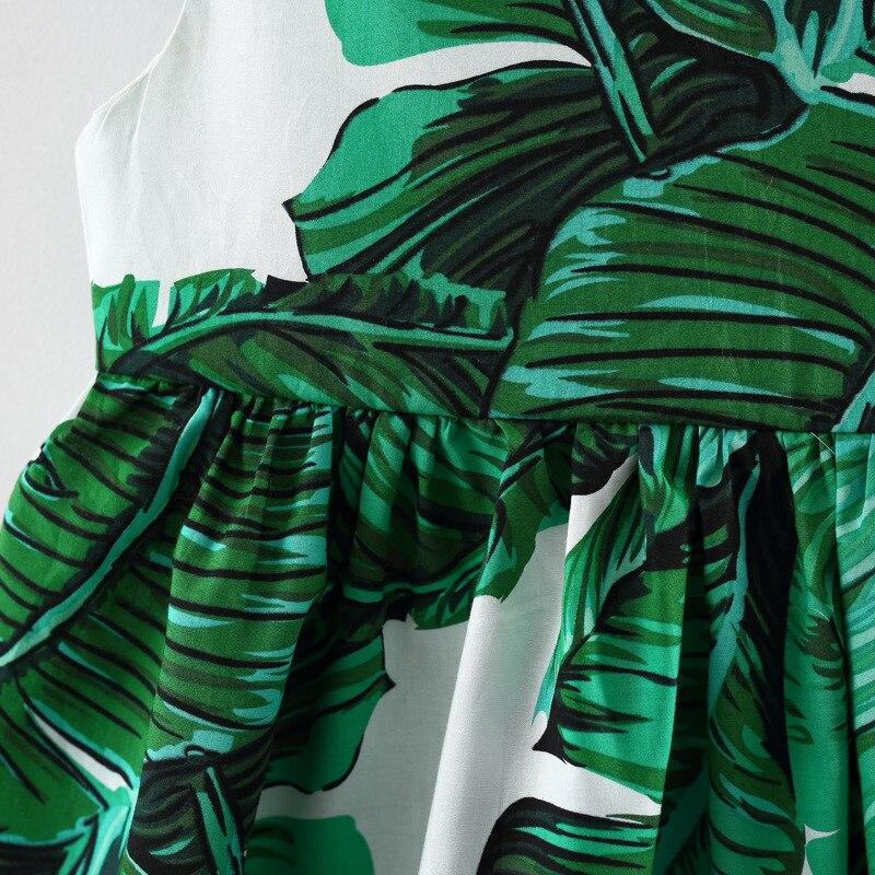 babzapleume New Born Baby Girls Clothes 3 Years 2018 Summer Dresses Fashion Green Leaves Cotton Sleeveless Dress+Headwear BC1701