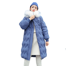 2019 new  Fashion Winter Jacket Women Slim Solid Fur Hooded Wear Ladies Long Parkas Thick Warm Outwear
