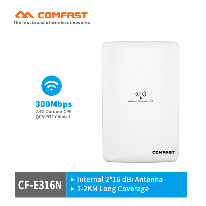 COMFAST high power wireless outdoor CPE wifi repeater 300Mbps ATHEROS AR9531 wi-fi access point router with dual 16dBi antenna comfast ac200 orange os system full gigabit wifi control ac gateway routing wireless roaming wifi coverage project manager route