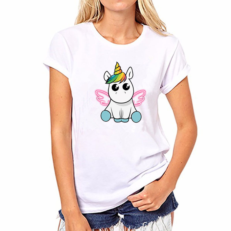 2017 verano Harajuku Arco Iris Unicornio Panda camiseta Mujer Tops Kawaii camiseta Unicornio blanco manga corta Blusa Licorne camiseta