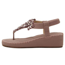 Korean Style Flats Flip Flops Rhinestones Ankle Wrap Women Crystal Sandals  2016 New Fashion Summer Sandals 35-39 SXQ0428