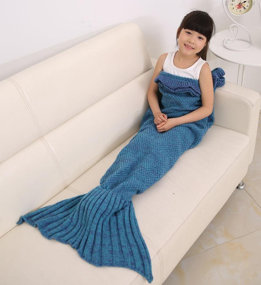 140 * 70cm Kid tricotat Mermaid Coada pătură de mână croșetat sirenă pătură pat de aruncare Pachet de dormit super-moale de dormit