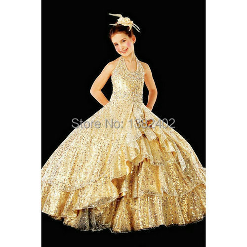 Girl Pageant Dresses 2014 Gold Halter Off The Shoulder Evening Gowns ...