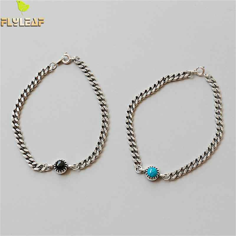 Flyleaf 925 Sterling Silver Bracelets For Women Round Black Agate Turquoise Simple Fashion Fine Jewelry Bracelets & Bangles