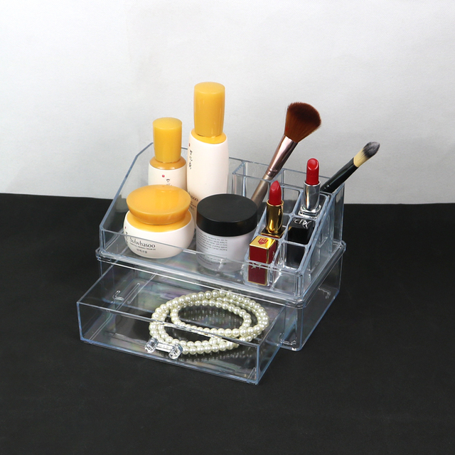 Transparent Makeup Organizer Jewelry Storage Box Drawers Cosmetic Storage Lipstick Holder Makeup Brush Rack Plastic Make Up Box