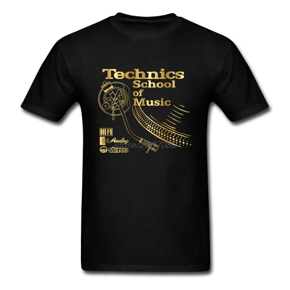 Pólók Ingyenes házhozszállítás Pre-Cotton Men Technics Zeneiskola rövid ujjú ingek alacsony árú férfi póló szlogenek