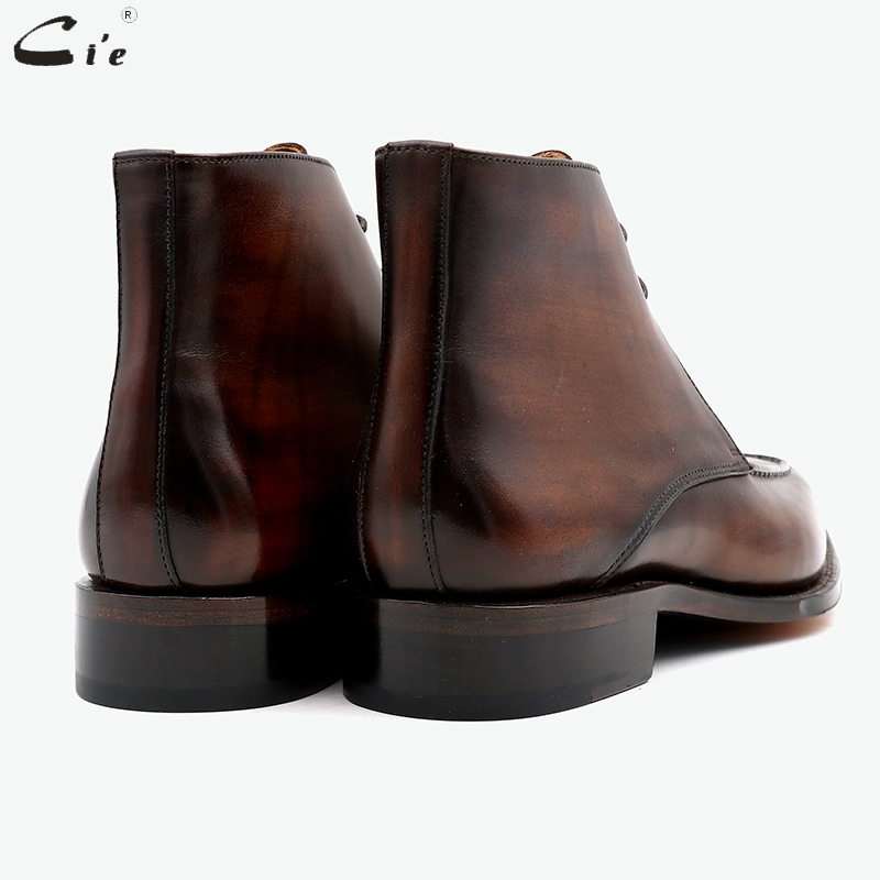 hot sale online bd555 7658d cie square toe full grain genuine calf leather boot patina brown handmade  leather lacing derby ankle boots work uomo scarpe A06