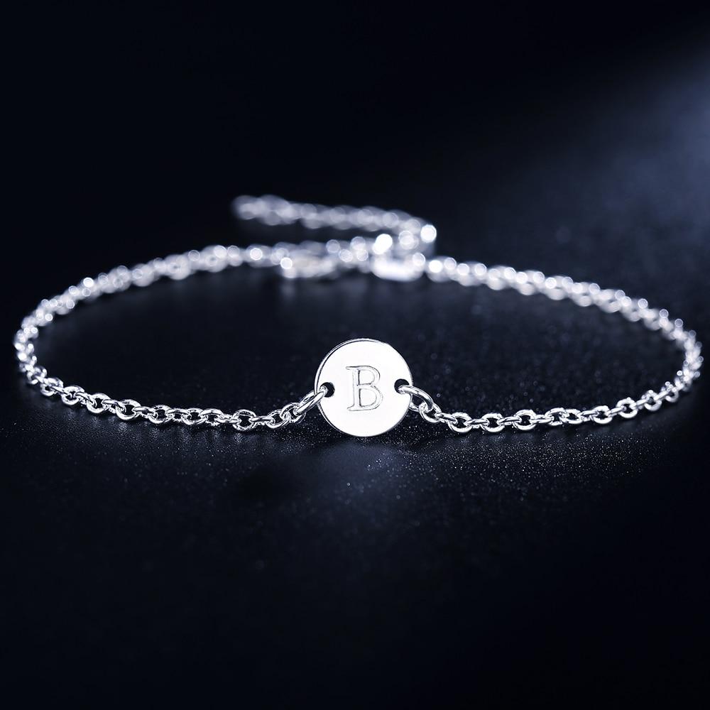 26 Fashion Letter women men chain bracelet Silver color Charm Bracelet wedding Personality Jewelry Pulseras Mujer JSHLH029 2