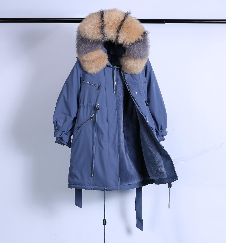 Large Natural Raccoon Fur Winter Jacket Women Hooded 19 Long Parkas For Female Thick Slim Down Winter Coat Women Waterproof 49