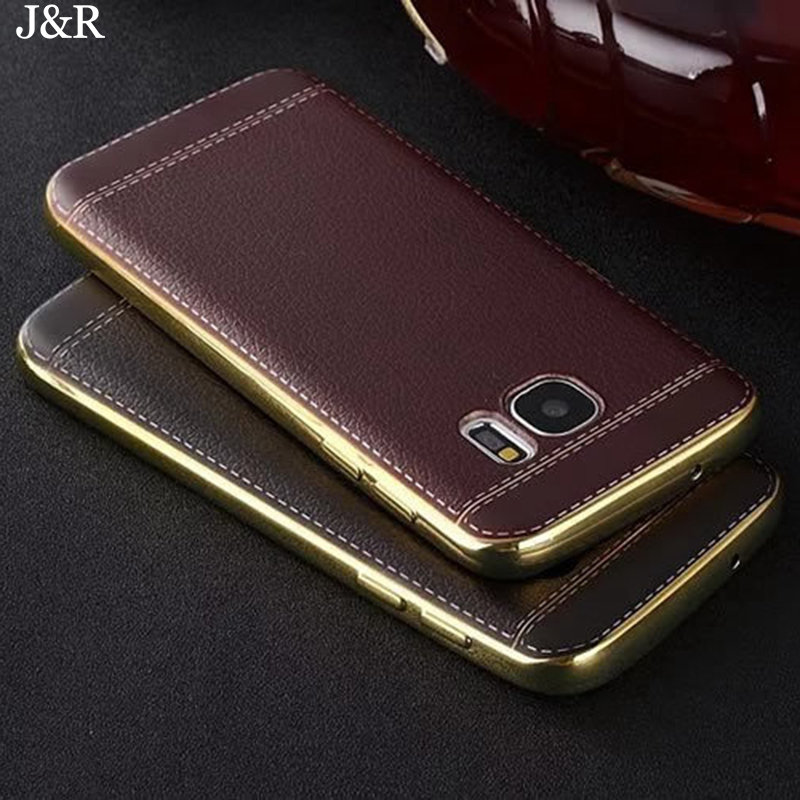 J&R Litchi Grain Luxury Plating Phone Case For Samsung Galaxy J2 J3 J5 J7 Prime 2016 2017 Soft TPU Silicone Back Cover Cases