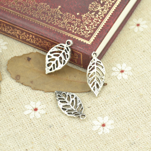 50pcs alloy Tibetan Silver Plated tree leaf Charms Pendants for Jewelry Making DIY Handmade Craft 19*10mm 21118
